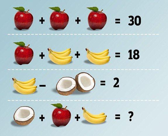 Bu görselde elma, muz ve hindistan cevizinin değeri kaçtır?